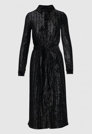 Велюровое платье с плиссе