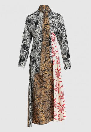 Комбинированное платье-миди