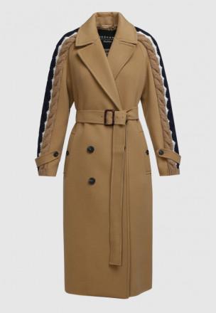 Пальто с вязаными вставками