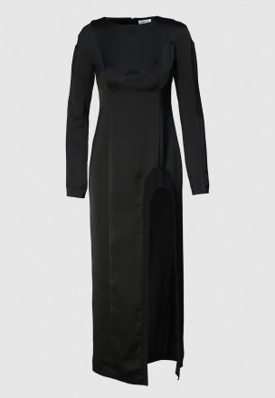 Атласное платье с разрезом