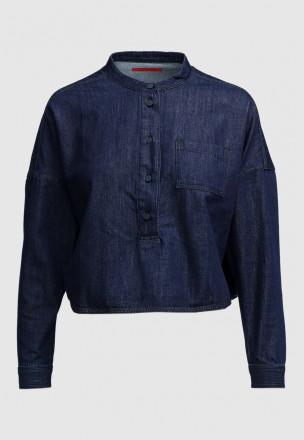 Укороченная джинсовая рубашка