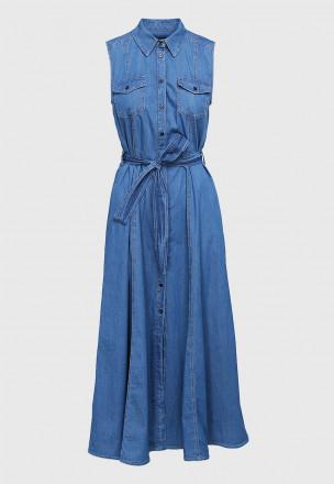 Джинсовое платье-миди