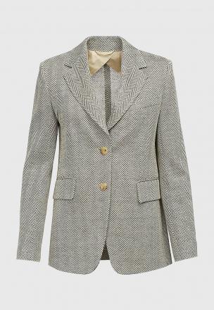 Пиджак из джерси в ёлочку