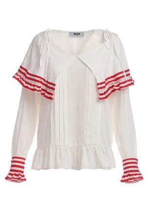 Блуза с цветной оборкой