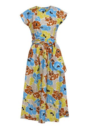 Платье-миди с цветочным рисунком