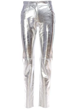 Металлизированные брюки из искусственной кожи