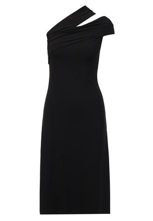 Платье с асимметричной линией декольте