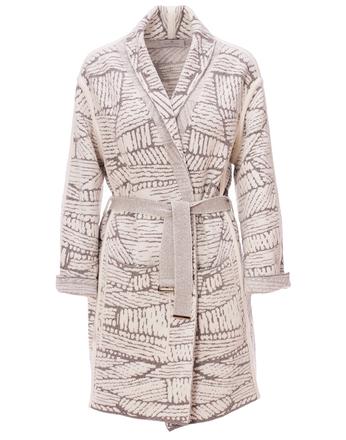 Пальто-халат с абстрактным рисунком